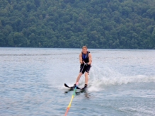 Russ enjoys water skiing with his son